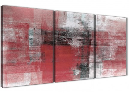 3 Piece Red Black White Painting Dining Room Canvas Wall Art Decor - Abstract 3397 - 126cm Set of Prints