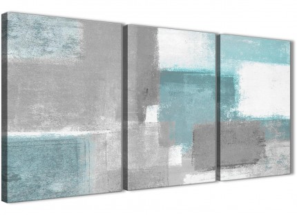 3 Piece Teal Grey Painting Living Room Canvas Pictures Decor - Abstract 3377 - 126cm Set of Prints