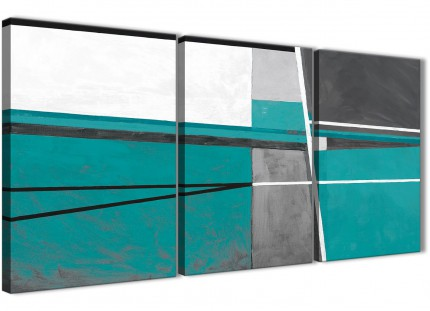 3 Panel Teal Grey Painting Kitchen Canvas Wall Art Accessories - Abstract 3389 - 126cm Set of Prints