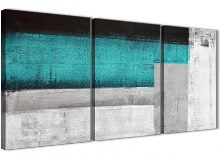 3 Panel Teal Turquoise Grey Painting Hallway Canvas Wall Art Accessories - Abstract 3429 - 126cm Set of Prints