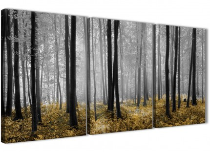 3 Piece Yellow and Grey Forest Woodland Trees Kitchen Canvas Wall Art Accessories - 3384 - 126cm Set of Prints