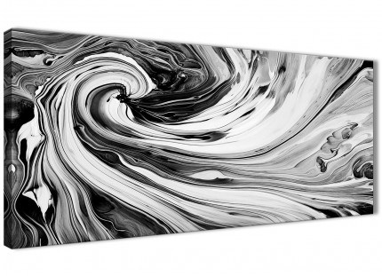Black White Grey Swirls Modern Abstract Canvas Wall Art - 120cm Wide - 1354