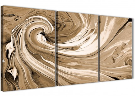 Brown Cream Swirls Modern Abstract Canvas Wall Art - Multi Set of 3 - 125cm Wide - 3349