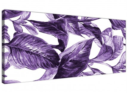 Dark Purple White Tropical Exotic Leaves Canvas Wall Art - Modern 120cm Wide - 1322