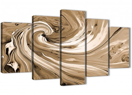 Extra Large Brown Cream Swirls Modern Abstract Canvas Wall Art - Multi 5 Panel - 160cm Wide - 5349