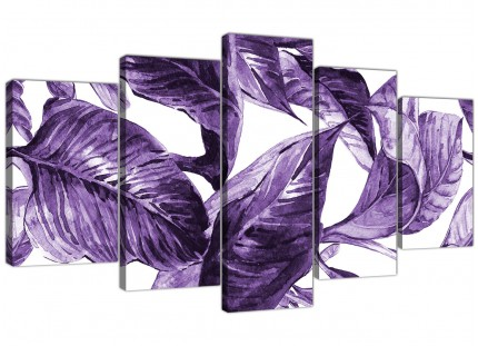 Extra Large Dark Purple White Tropical Exotic Leaves Canvas Wall Art - Multi 5 Panel - 5322