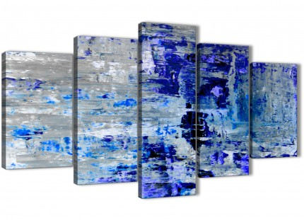 Extra Large Indigo Blue Grey Abstract Painting Wall Art Print Canvas - Multi 5 Panel - 160cm Wide - 5358