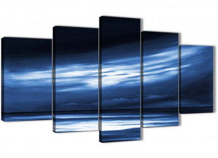 Extra Large Indigo Blue White Abstract Sunset Modern Canvas Wall Art - Split 5 Panel - 160cm Wide - 5332