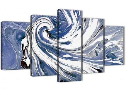 Extra Large Indigo Blue White Swirls Modern Abstract Canvas Wall Art - Multi Set of 5 - 160cm Wide - 5352