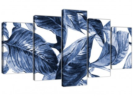 Extra Large Indigo Navy Blue White Tropical Leaves Canvas Wall Art - Split 5 Part - 5320