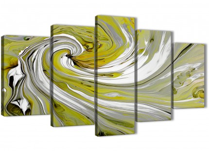 Extra Large Lime Green Swirls Modern Abstract Canvas Wall Art - Split 5 Panel - 160cm Wide - 5351