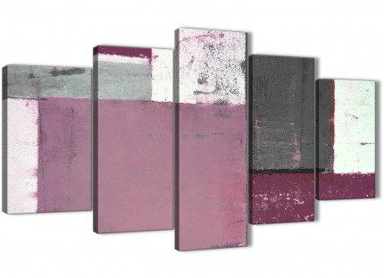 Extra Large Plum Grey Abstract Painting Canvas Wall Art Picture - Multi 5 Set - 160cm Wide - 5342