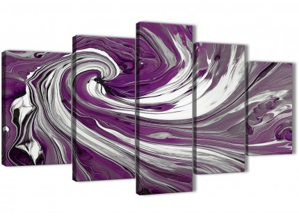 Extra Large Purple White Swirls Modern Abstract Canvas Wall Art - Split Set of 5 - 160cm Wide - 5353