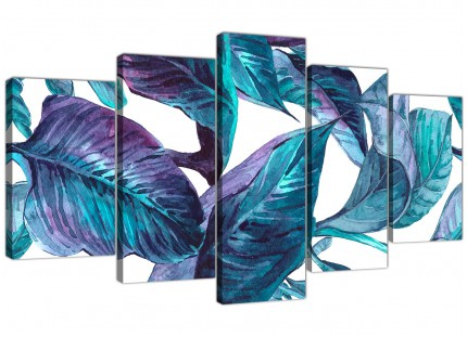 Extra Large Turquoise and White Tropical Leaves Canvas Wall Art Prints - Split 5 Panel - 5323