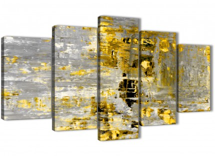 Extra Large Yellow Abstract Painting Wall Art Print Canvas - Split 5 Set - 160cm Wide - 5357