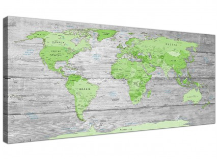Large Lime Green Grey World Map Atlas Canvas Wall Art Print - Modern 120cm Wide - 1301