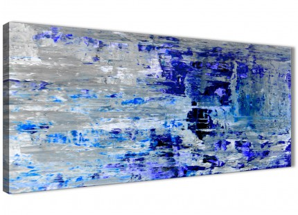 Indigo Blue Grey Abstract Painting Wall Art Print Canvas - Modern 120cm Wide - 1358