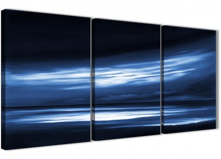 Indigo Blue White Abstract Sunset Modern Canvas Wall Art - Split Set of 3 - 125cm Wide - 3332