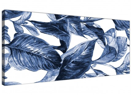 Indigo Navy Blue White Tropical Leaves Canvas Wall Art - Modern 120cm Wide - 1320