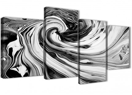 Large Black White Grey Swirls Modern Abstract Canvas Wall Art - Multi 4 Set - 130cm Wide - 4354