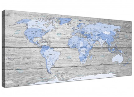 Large Blue Grey Map of World Atlas Canvas Wall Art Print 120cm Wide - 1303