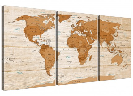 Large Brown Cream Map of World Atlas Canvas Wall Art Print - Multi 3 Panel - 3307