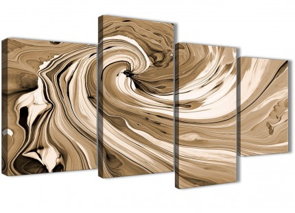 Large Brown Cream Swirls Modern Abstract Canvas Wall Art - Multi 4 Piece - 130cm Wide - 4349