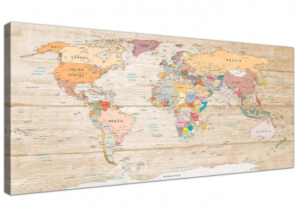 Large Map of the World Canvas Art Print - Colourful Cream - Modern 120cm Wide - 1314