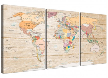 Large Map of the World Canvas Art Print - Colourful Cream - Multi 3 Set - 3314