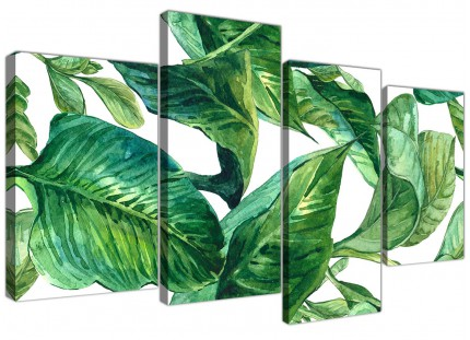 Large Green Palm Tropical Banana Leaves Canvas Wall Art Print - Split 4 Panel - 4324