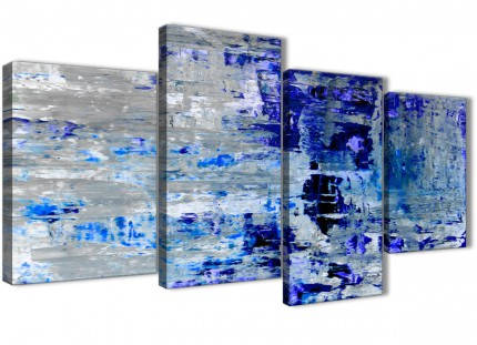 Large Indigo Blue Grey Abstract Painting Wall Art Print Canvas - Multi 4 Piece - 130cm Wide - 4358