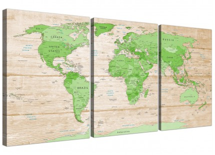 Large Lime Green Cream World Map Atlas Canvas Wall Art Prints - Multi Set of 3 - 3310