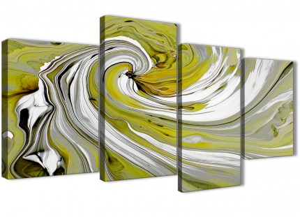 Large Lime Green Swirls Modern Abstract Canvas Wall Art - Split 4 Part - 130cm Wide - 4351