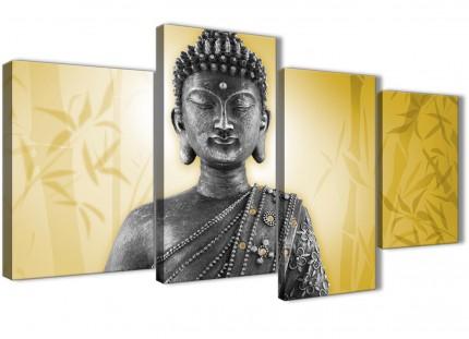 Large Mustard Yellow and Grey Silver Canvas Art Print of Buddha - Split 4 Set - 4328