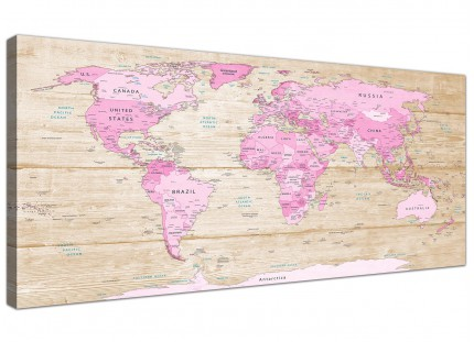 Large Pink Cream Map of World Atlas Canvas Wall Art - Modern 120cm Wide - 1309
