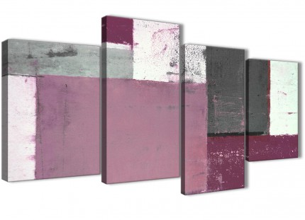 Large Plum Grey Abstract Painting Canvas Wall Art Picture - Multi 4 Set - 130cm Wide - 4342