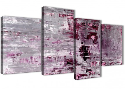 Large Plum Grey Abstract Painting Wall Art Print Canvas - Split 4 Panel - 130cm Wide - 4359