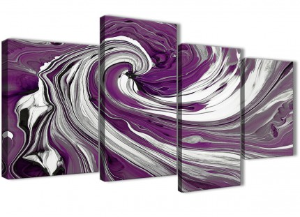 Large Purple White Swirls Modern Abstract Canvas Wall Art - Split 4 Set - 130cm Wide - 4353