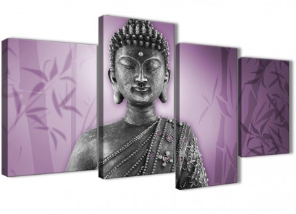 Large Purple and Grey Silver Canvas Art Prints of Buddha - Split 4 Part - 4330