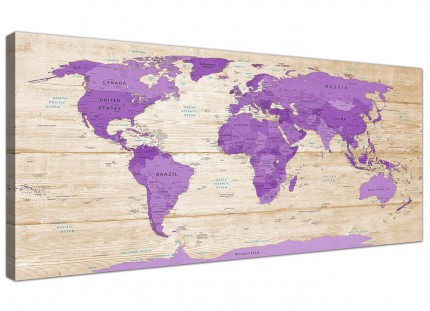 Large Purple Cream Map of the World Atlas Canvas Wall Art Prints - Modern 120cm Wide - 1312