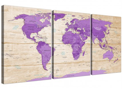 Large Purple Cream Map of the World Atlas Canvas Wall Art Prints - Multi Set of 3 - 3312
