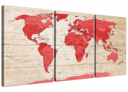 Large Red Cream Map of World Atlas Canvas Wall Art Prints - Multi 3 Piece - 3311