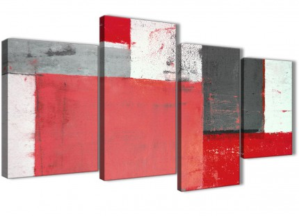 Large Red Grey Abstract Painting Canvas Wall Art Split 4 Panel - 130cm Wide - 4343