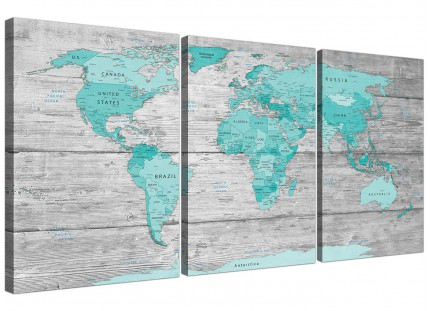 Large Teal Grey Map of World Atlas Canvas Wall Art Print Split 3 Part - 3299