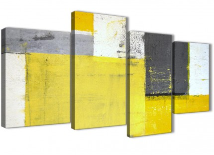 Large Yellow Grey Abstract Painting Canvas Wall Art Picture - Split 4 Part - 130cm Wide - 4346