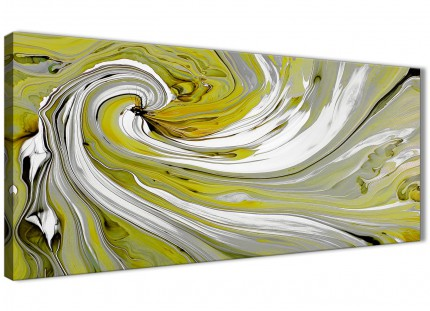 Lime Green Swirls Modern Abstract Canvas Wall Art - 120cm Wide - 1351