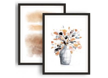 Burnt Orange and Grey Floral Abstract Framed Wall Art - 2fb557 - 108cm XL Set Artwork