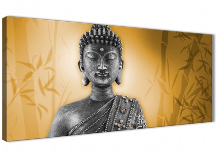 Orange and Grey Silver Canvas Art Prints of Buddha - Modern 120cm Wide - 1329