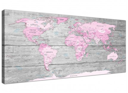 Large Pink Grey Map of World Atlas Canvas Wall Art Print - Maps Modern 120cm Wide - 1302