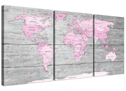 Large Pink Grey Map of World Atlas Canvas Wall Art Print - Maps Split 3 Part - 3302